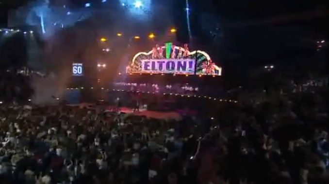 Neon Elton! sign at Elton John concert